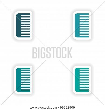 assembly realistic sticker design on paper comb