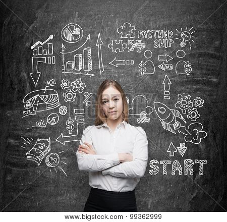 Business Lady With Crossed Hands Is Brainstorming And Trying To Run A Start Up. Black Talk Board As