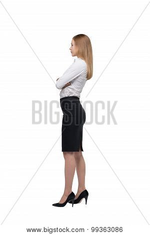 Full Length Side View Of The Business Lady In Formal Clothes. Isolated.