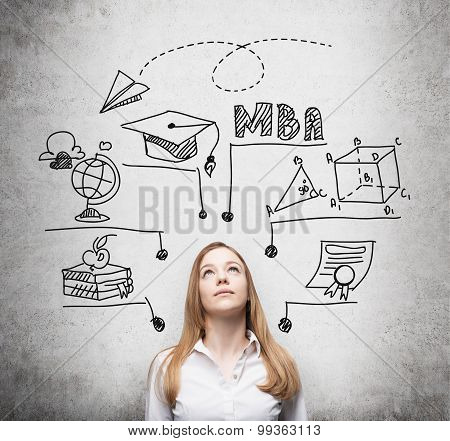 A Young Lady Is Thinking About Mba Degree. Educational Chart Is Drawn Behind Her. A Concept Of Furth
