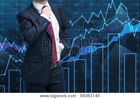 Closeup Of Successful Portfolio Manager In Formal Suit. A Concept Of Decision Making Process In Fina