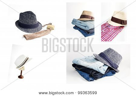 Collage Set Of Various Clothes And Accessories For Men Isolated On White Background