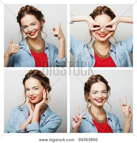 Collage of portraits of a beautiful young  happy woman