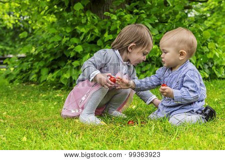 Adorable Children Playing In The Park