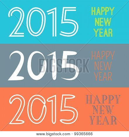 Set of Happy New Year 2015 banner.  illustration for holiday