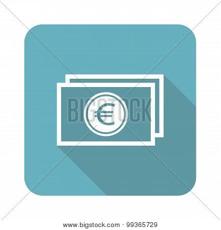 Euro banknote icon, square