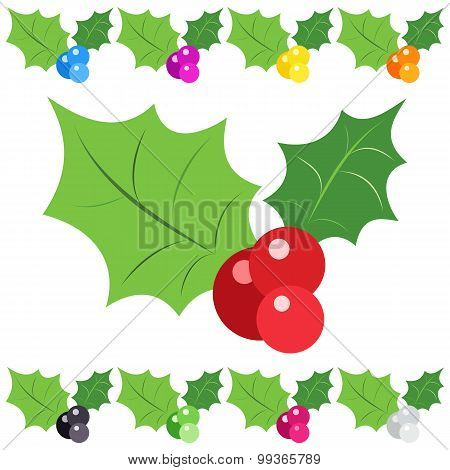 Set of holly berry sprig icons isolated on white background