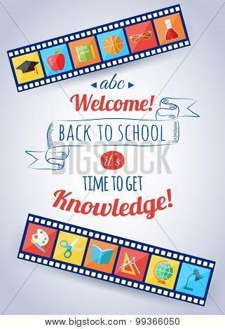 Back to school and education typographical background with flat education icons. Open book, computer