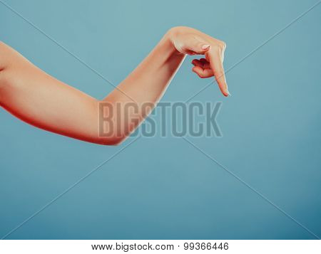 Human Hand Showing Blank Empty Copyspace.
