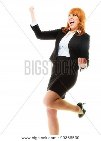 Girl Winner Celebrating Success In Job