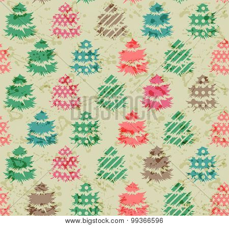 Vintage seamless pattern with Christmas fir trees