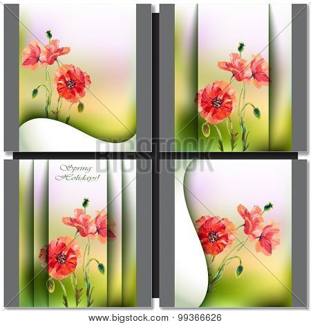 Spring flowers invitation template card with poppy.