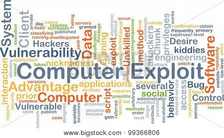 Background concept wordcloud illustration of computer exploit