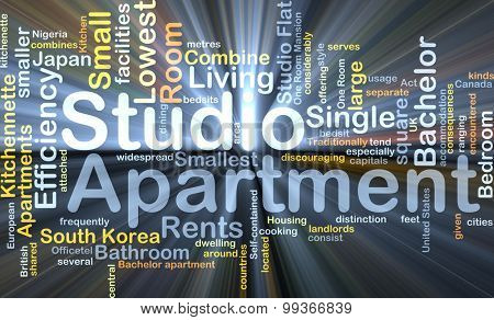 Background concept wordcloud illustration of studio apartment glowing light