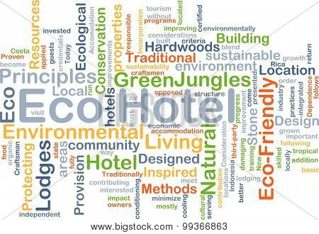 Background concept wordcloud illustration of eco hotel