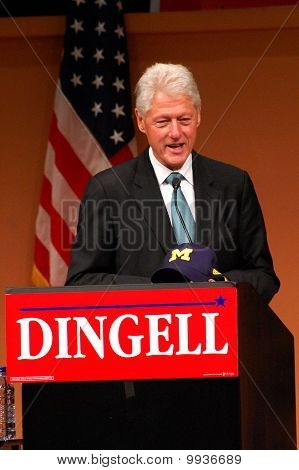 Former President Bill Clinton At Dingell Rally