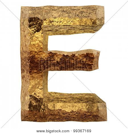 High resolution concept or conceptual 3D yellow shiny gold golden metal fontpart of a set or collection isolated on white background