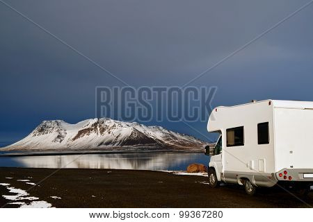 Mobile motor home RV campervan parked with beautiful landscape view, freedom vacation motorhome touring lifestyle