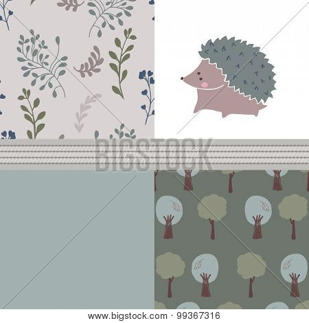 forest set with hedgehog
