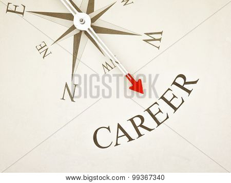 An image of a nice compass with the word career