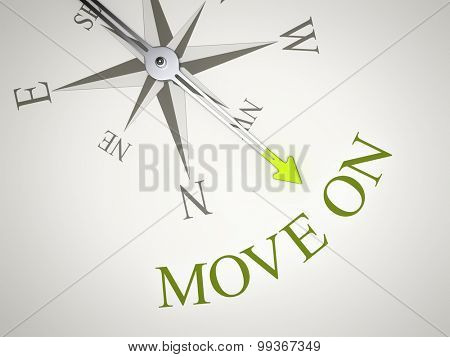 An image of a nice compass with the word move on