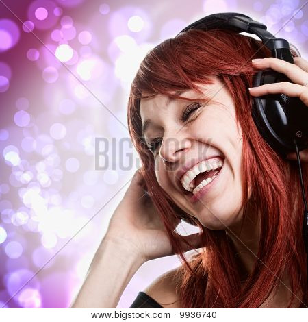 Happy Woman Having Fun With Music Headphones
