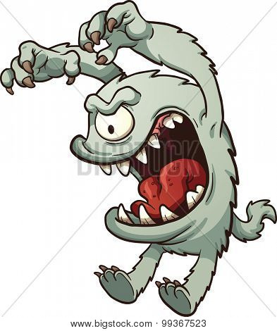 Cartoon monster. Vector clip art illustration with simple gradients. All in a single layer.