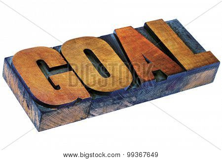 goal word - isolated text in vintage letterpress wood type printing blocks stained by color inks