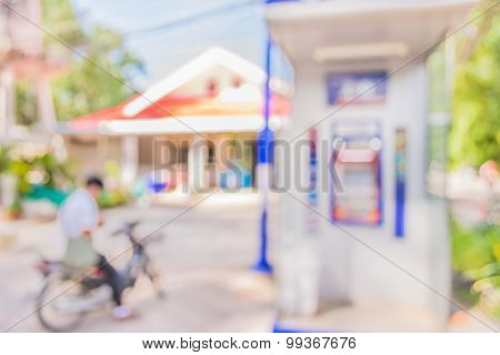 Blur Image Of Automatic Teller Machine