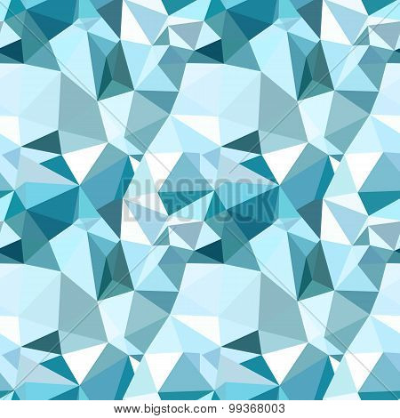 Vector low poly seamless pattern. Blue winter polygonal abstract background