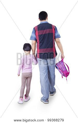 Father Going To School With His Daughter