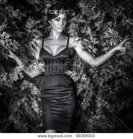 Sensual Woman In Elegant Dress Posing Outdoor.