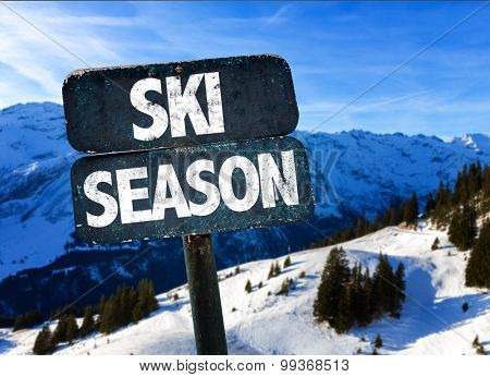 Ski Season sign with alps on background