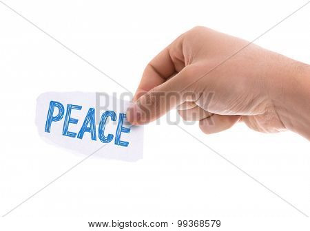 Piece of paper with the word Peace isolated on white background