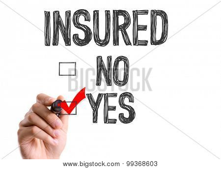 Hand with marker writing the word Insured - Yes