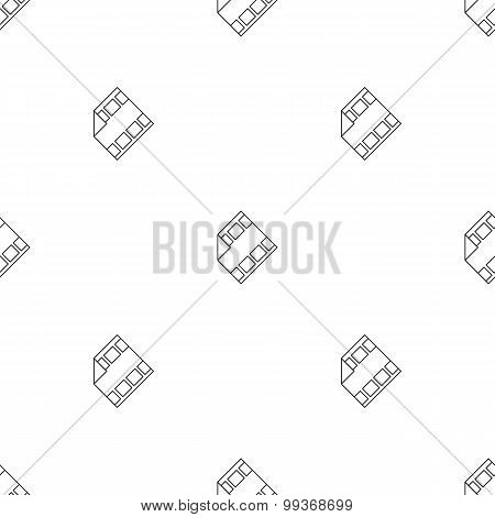 Vector outline film icon with play sign seamless pattern. Media business minimalistic background