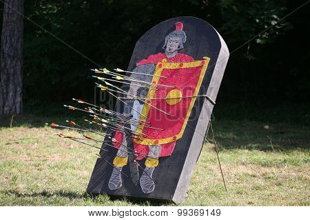 Arrows And Target As A Legionary On A Historical Fighting  Show