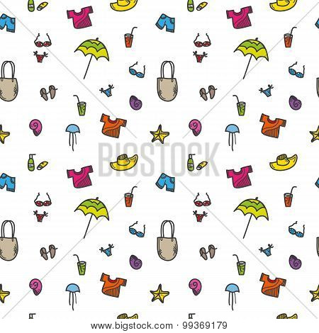 Vector hand drawn summer seamless pattern. Colorful vacation background