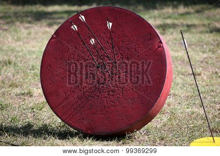 Retro Archery Target With Arrows