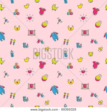 Vector colorful baby and pregnancy seamless pattern in cartoon style. Newborn girl theme bright back