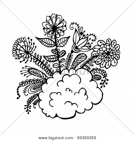 flowers on a cloud doodle sketch vector
