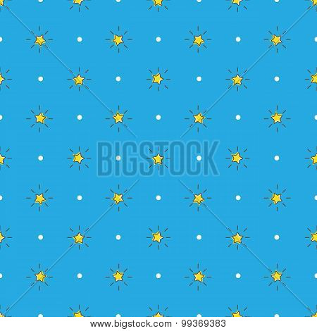 Vector yellow stars with rays seamless pattern. Stars background in cartoon style