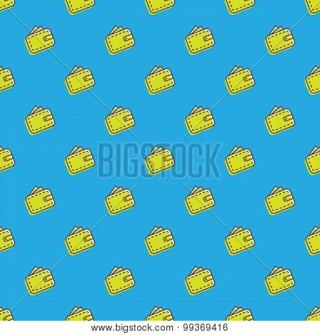 Vector wallet icons seamless pattern. Financial background in cartoon style