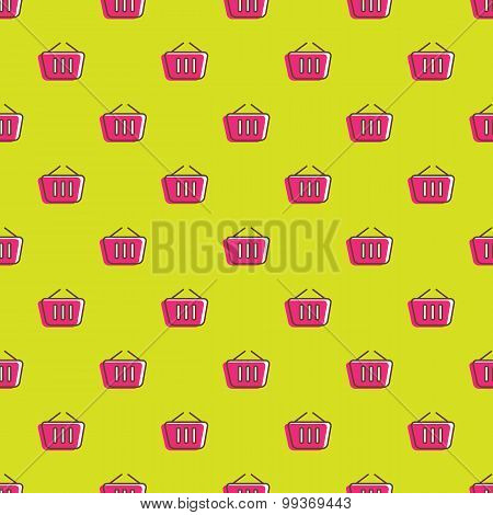 Vector shopping cart icons seamless pattern. Shopping background in cartoon style