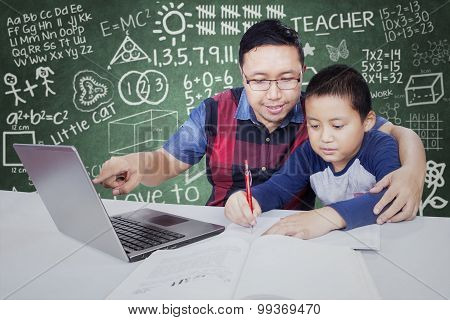 Teacher Guides His Male Student To Study