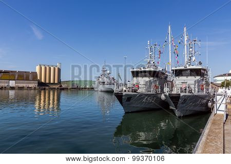 Warships Moored In The Port Of Ystad