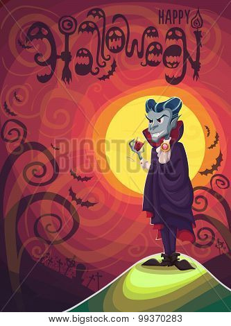 Vampire Dracula For Halloween. Vector Poster Background Illustration