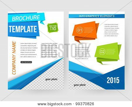 Corporate business stationery brochure template with infographics elements and place for photo. Abst