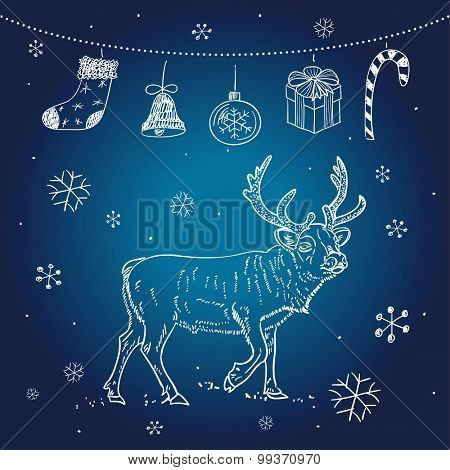 Christmas vector card with reindeer