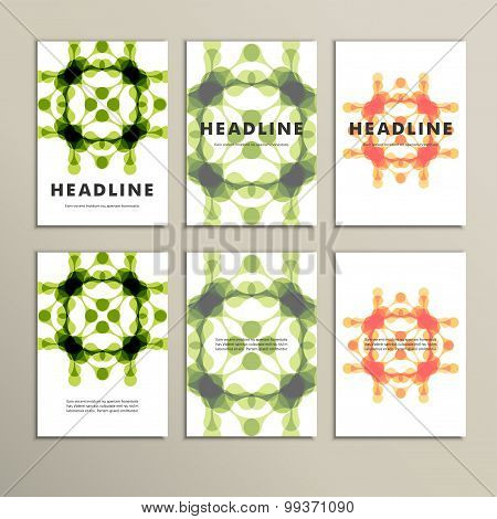 Set of six covers with abstract patterns